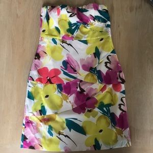 Floral print strapless dress from the Limited